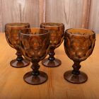 4 Vintage Brown Glass Thumbprint Pattern Goblets Footed Wine Glass Water