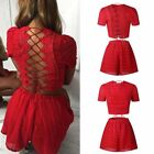 US Women Summer Two Piece Bodycon Romper Lace up Top Shorts Jumpsuit Set Outfits