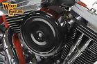 Wyatt Gatling 7 Round Air Cleaner With Black Cover for Harley Sportster Softail