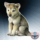 Gray and Cream 45 Inch Wolf Cub Sitting Decorative Statue Figurine Great Gift