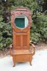 Superb Fancy Victorian Solid Oak Hall Tree with Carved Crown and Oval Mirror