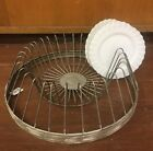 New Primitive Farmhouse Chic RUSTIC METAL PLATE RACK File Holder Stand Circular