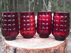 4 Vintage Anchor Hocking Royal Ruby Red Bubble Juice Glasses 6 oz