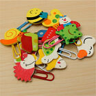 12x Cute Cartoon Animal Wooden Bookmark Paper Clips School Supplies Stationery