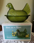 Vintage Indiana Glass Olive Green Hen on Nest Covered Candy Dish with box (57)