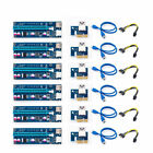 6PCS Riser Card Adapter PCI E 1x To 16x Extender USB30 Power Cable 6PIN US