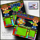 Laser Tag 2 premade scrapbook pages paper printed layout 4 album Birthday cherry