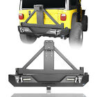 Rear Bumper w/ LED Lights & Tire Carrier Textured Fit Jeep Wrangler TJ 1997-2006