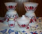 Vintage Fire King Modern Tulip Mixing Bowl Set Grease Jar Salt Shaker +Lid NICE