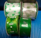 Lot of 4 Rolls St Patricks Day Wired Ribbon New Sealed