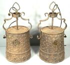 PAIR ANTIQUE EARLY 20th CENTURY ARTS+CRAFTS MISSION HAMMERED TIN HANGING LIGHTS
