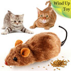 Clockwork Wind Up Funny Running Mouse Move Tail Cat Kitten Prank Pet Toys