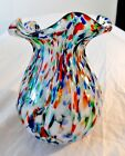 Murano Blown Glass Spatter Pattern Ribbed MINT