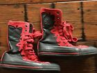 Converse Chuck Taylor High Top Black Red Leather Sneakers Womens 65 Mens 45