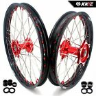 KKE 21/19 Mx Casting Wheels Rims Fit HONDA CRF250R 2004 CRF450R 2012 Red Nipple