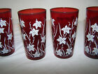 VINTAGE ANTIQUE FOUR RUBY RED TUMBLER GLASSES with flowers