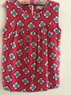 ANN TAYLOR LOFT Top SZ S Red With Blue Decorative Leaves Sleeveless