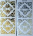 Embossed on Clear Corner PEEL OFF STICKERS Feather Large Gold  Silver Corners