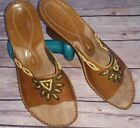 Clarks Artisan Womens 8 Brown Beaded Open Toe Slide Wedge Sandal Shoes Leather