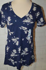 Womens Old Navy Dark Blue Island Palm Tree Short Sleeve Relaxed V Neck Top Sz S