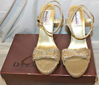 Dyeables Raven Gold Glitter Platform Dress Sandals Perfect Classy Strappy Shoes