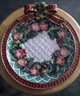 Vintage Fitz & Floyd Plate Classic Christmas Wreath Red Bow Flowers