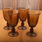 4 Vintage Grey Brown Glass Goblets Footed Wine Glass Water