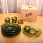 Vintage Colony 12 Piece Green Glass Snack Set Plates and Cups In Original Box