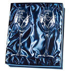 Swarovski Wine Glasses set of 2 w heart Shape cutting in a satin lined gift