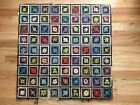 Vintage Hand Hooked RUG GRANNY SQUARE FLORAL Wool 38
