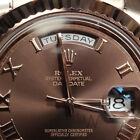 Rolex 41mm President 218238 Solid 18K Rose Gold Chocolate Brown Roman Numeral