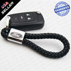 Universal Ford Logo Ebmlem Black Calf Leather Keychain Ring Decoration Gift