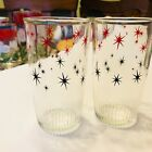 Vintage HAZEL ATLAS Sour Cream Tumblers, Red and Black Stars, Half Pint Size.