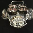 9 Piece Vintage Dorothy Thorpe Silver Band Highball Glasses W/ Coasters