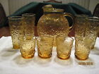 Vinage Anchor Hocking Ball Pitcher Amber w/glasses 1960's