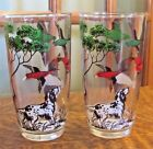 (2) VINTAGE MID CENTURY SPORTSMAN BIRD DOG AND DUCKS HIGHBALL GLASS TUMBLERS