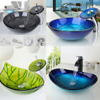 US Round Oval Bathroom Glass Vessel Basin Sinks Bowl  Brass Mixer Faucet Combo