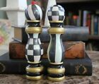 Hand Painted Parchment Checkered Salt and Pepper Herb Mill Wood Shaker Set