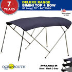 BIMINI TOP 4 Bow Boat Cover Blue 79 84 Wide 8ft Long With Rear Poles