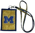 Michigan Wolverines Beaded Lanyard Wallet NEW NCAA Jewelry Necklace ID Holder