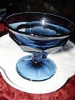 Vintage SET OF 6 BLUE Glass Panel Footed Dessert Compote Dishes VGC