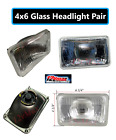 1 PAIR 4x6 SEMI SEALED CLEAR GLASS H4 CONVERSION HEADLIGHT REPLACEMENT HL04X2