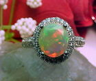 NATURAL ETHIOPIAN FACETED OPAL RING AAA+++ 8.7mm RD & WHITE SAPPHIRE 925 SS