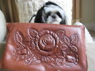 Vintage 1940's Hand Tooled Genuine Leather Purse Handbag Cabbage Rose Sundial