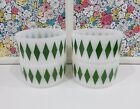 Set of 4-Vintage Green Fire King Diamond Pattern Cereal Bowls