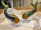 pair of colorfull handblown glass fish 11high by 7 wide