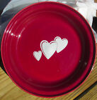"Fiesta Dinner ware Cinnabar Trio Of Hearts Pie Plate 10"" - Three Hearts Dark Red"