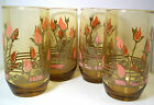 Amber juice glasses set x 4 pink rosebuds olive green leaves signed Yvette 10 oz