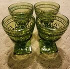 Set of 4 Vintage Indiana Glass Green Water Goblets Square Footed
