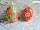 Vintage Easter Eggs TWO HAND PAINTED EGGS TULIPS  REAL EGG FROM CZECH